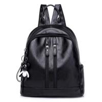 Medium Size Fashion Women Backpack - Black Color