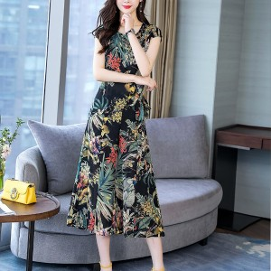 Fancy Floral Fashion Cut Sleeves Round Neck Two Pieces Suit - Black
