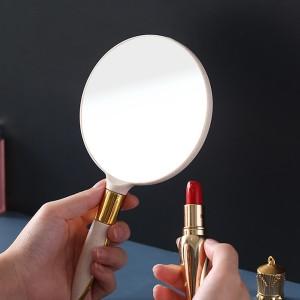 Round Shape Portable Beauty Makeup Mirror - Cream White