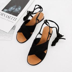 Suede Lace Closure Women Fashion Sandals - Black