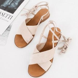 Suede Lace Closure Women Fashion Sandals - Khaki