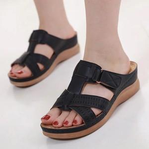 Velcro Closure Slip Over Slippers - Black