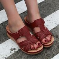 Velcro Closure Slip Over Slippers - Wine Red