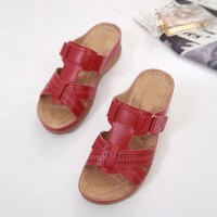 Velcro Closure Slip Over Slippers - Red