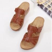 Velcro Closure Slip Over Slippers - Brown