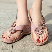 Floral Patched Thick Sole Slip Over Slippers - Pink
