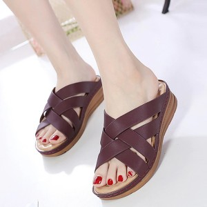Cross Strap Synthetic Leather Casual Slippers - Wine Red
