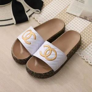 Rubber Sole Soft Casual Footwear Women Fashion Slippers - White