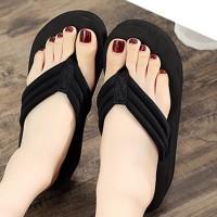 Thick Sole Women Fashion Plain Flip Flop Slippers - Black