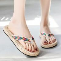 Plastic Sole Women Fashion Plain Flip Flop Slippers - Khaki