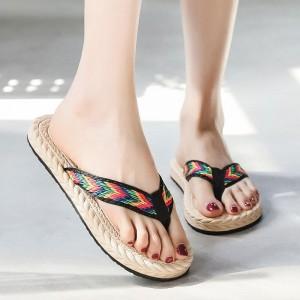 Plastic Sole Women Fashion Plain Flip Flop Slippers - Black