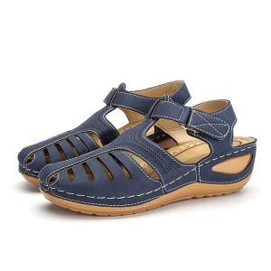Velcro Closure Stitched Thick Sole Women Fashion Sandals - Blue