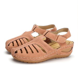 Velcro Closure Stitched Thick Sole Women Fashion Sandals - Pink