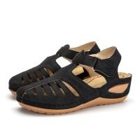 Velcro Closure Stitched Thick Sole Women Fashion Sandals - Black