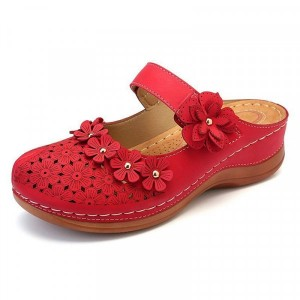 Floral Patched Hollow Thick Sole Slip Over Slippers - Red