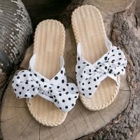 Polka Dot Printed Flat Wear Women Vintage Style Slippers - White