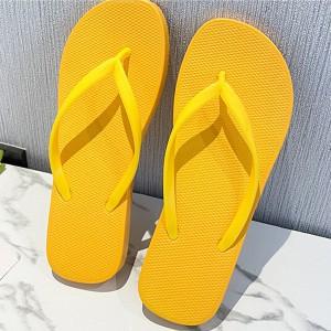 Plastic Flat Multi Occasion Casual Flip Flops - Yellow
