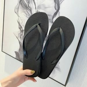 Plastic Flat Multi Occasion Casual Flip Flops - Black