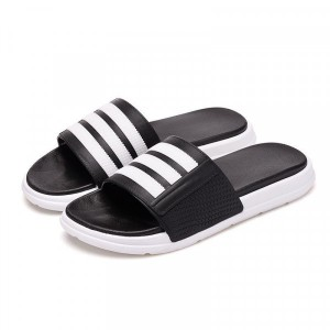 Striped Contrast Sports Wear Casual Slippers - Black