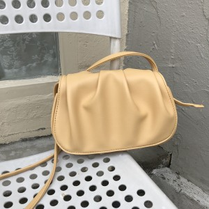 Wrinkled Vintage Style Synthetic Leather Handbag - Yellow