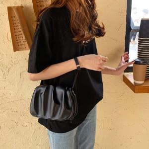 Wrinkled Vintage Style Synthetic Leather Handbag - Black
