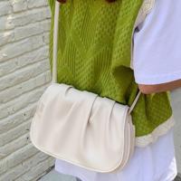 Wrinkled Vintage Style Synthetic Leather Handbag - White