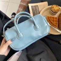 Shiny Zipper Closure Double Handle Solid Color Handbags - Blue