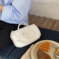 Shiny Zipper Closure Double Handle Solid Color Handbags - White