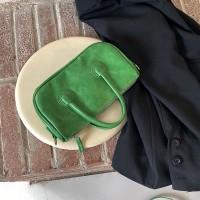 Shiny Zipper Closure Double Handle Solid Color Handbags - Green
