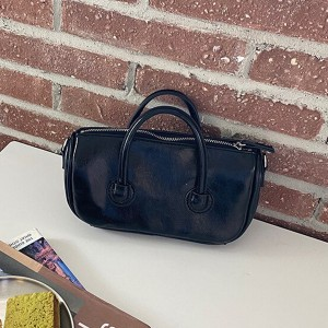 Zipper Closure Shiny Double Handle Solid Color Handbags - Black