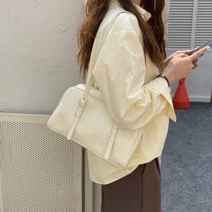 Buckle Zipper Closure Shiny Double Handle Solid Color Handbags - White