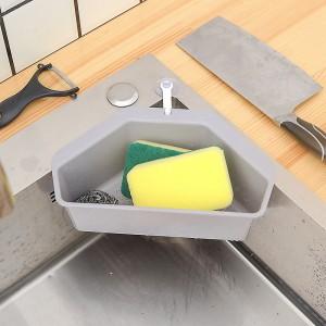 Multifunctional Triangle Shelf Filter Water Drain Basket Kitchen Gadgets - Gray