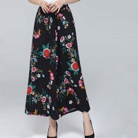 Floral Printed Straight Design Women Palazzo Trousers - Green Multicolor