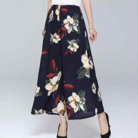 Floral Printed Straight Design Women Palazzo Trousers - Dark Blue