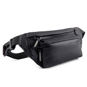 Zipper Closure Waist Nylon Fanny Packs Traveller Bags - Black