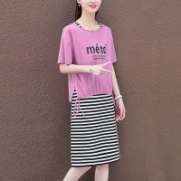 Stripes Print Straight Wear Top With Skirt - Pink