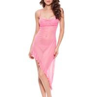 See Through Ruffled Irregular Lingerie Sets - Pink