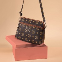 Graphical Printed Zipper Closure Synthetic Leather Messenger Bags - Brown