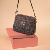 Alphabetic Printed Zipper Closure Synthetic Leather Messenger Bags - Dark Brown