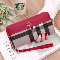 Zipper Closure Checks Printed Handheld Wallet - Red