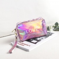 Holographic Zipper Closure Cute Traveller Pouch Bags - Pink