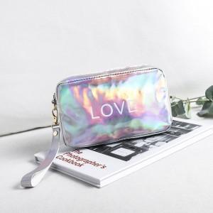 Holographic Zipper Closure Cute Traveller Pouch Bags - Silver