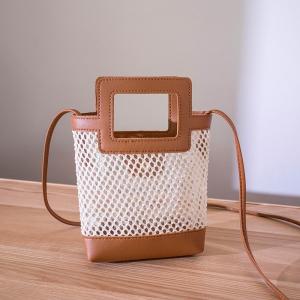 Hollow See Through Cute Handheld Messenger Bags - Brown