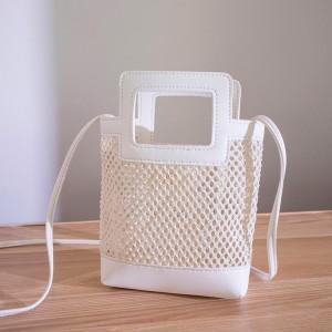 Hollow See Through Cute Handheld Messenger Bags - White