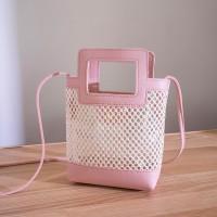 Hollow See Through Cute Handheld Messenger Bags - Pink