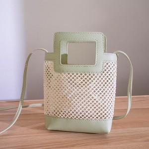 Hollow See Through Cute Handheld Messenger Bags - Green