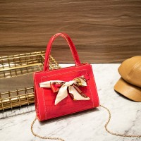 Ribbon Patched Animal Pattern Chain Strap Messenger Bags - Red
