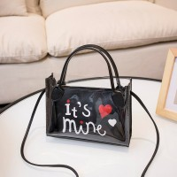 Alphabetic Printed Heart Shiny Zipper Closure Messenger Bags - Black
