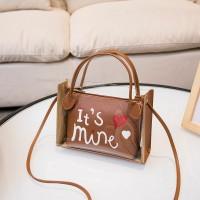 Alphabetic Printed Heart Shiny Zipper Closure Messenger Bags - Brown