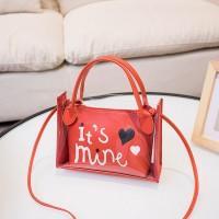 Alphabetic Printed Heart Shiny Zipper Closure Messenger Bags - Red